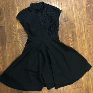 Mock neck black dress